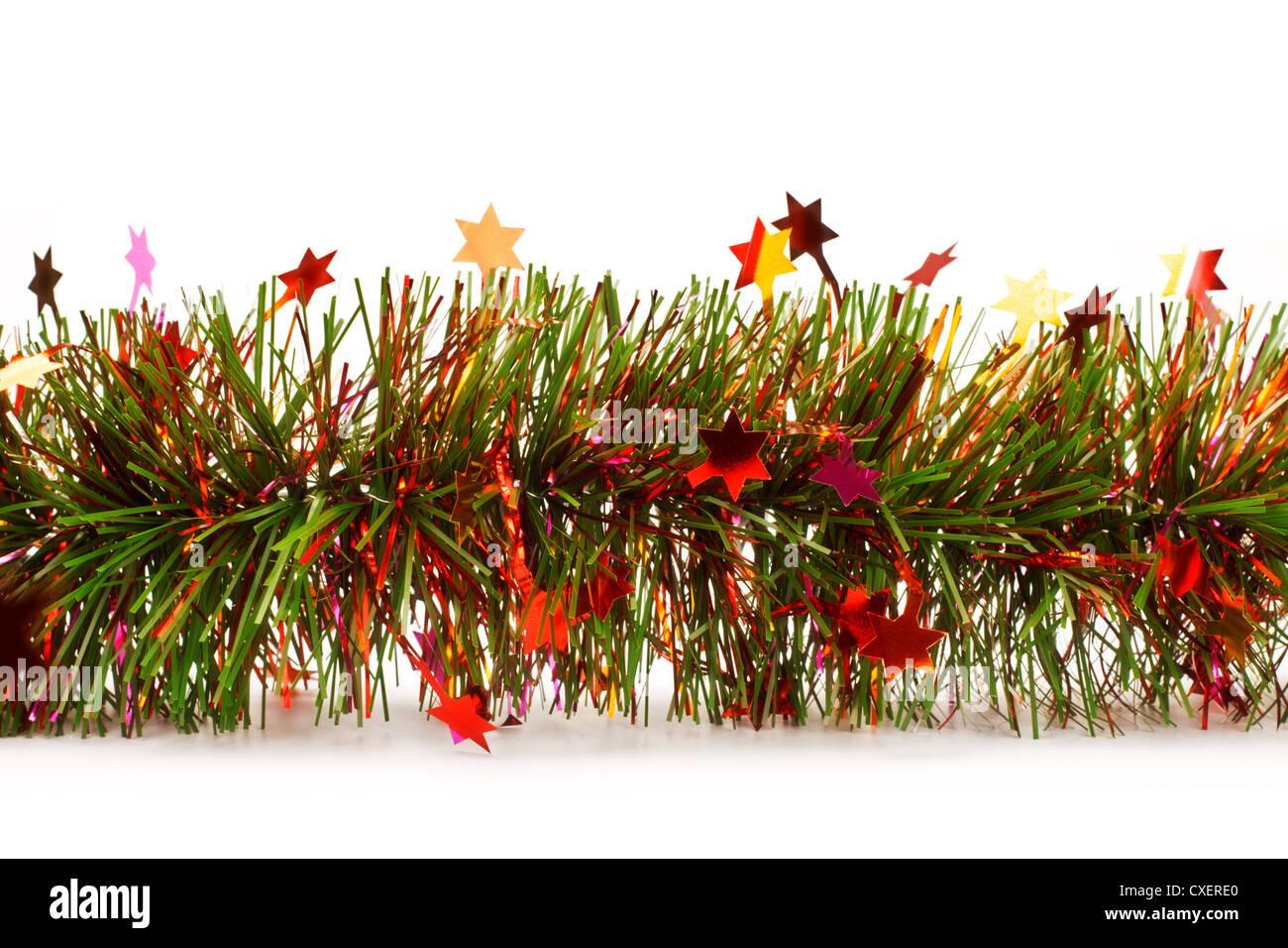 christmas tinsel garland with stars - Stock Image