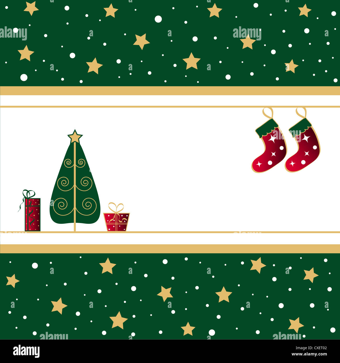 Christmas tree with gifts and stockings Stock Photo