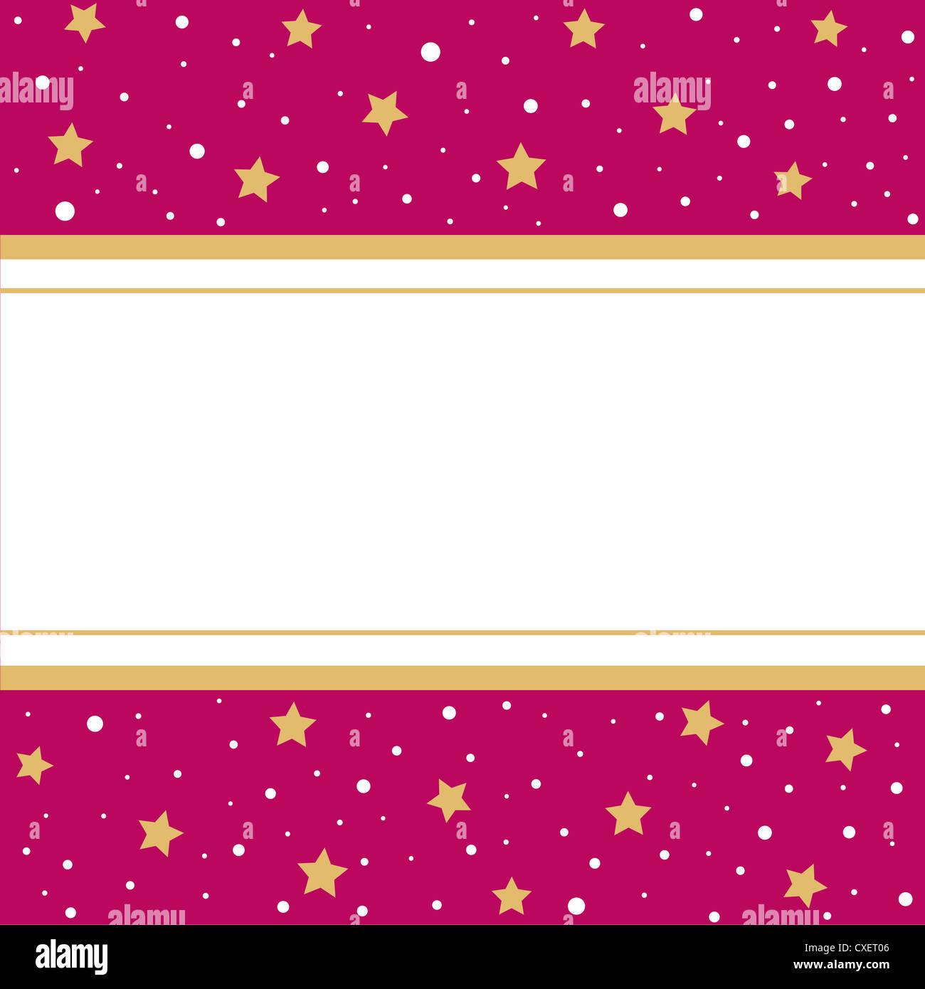 Golden stars pink border frame Stock Photo