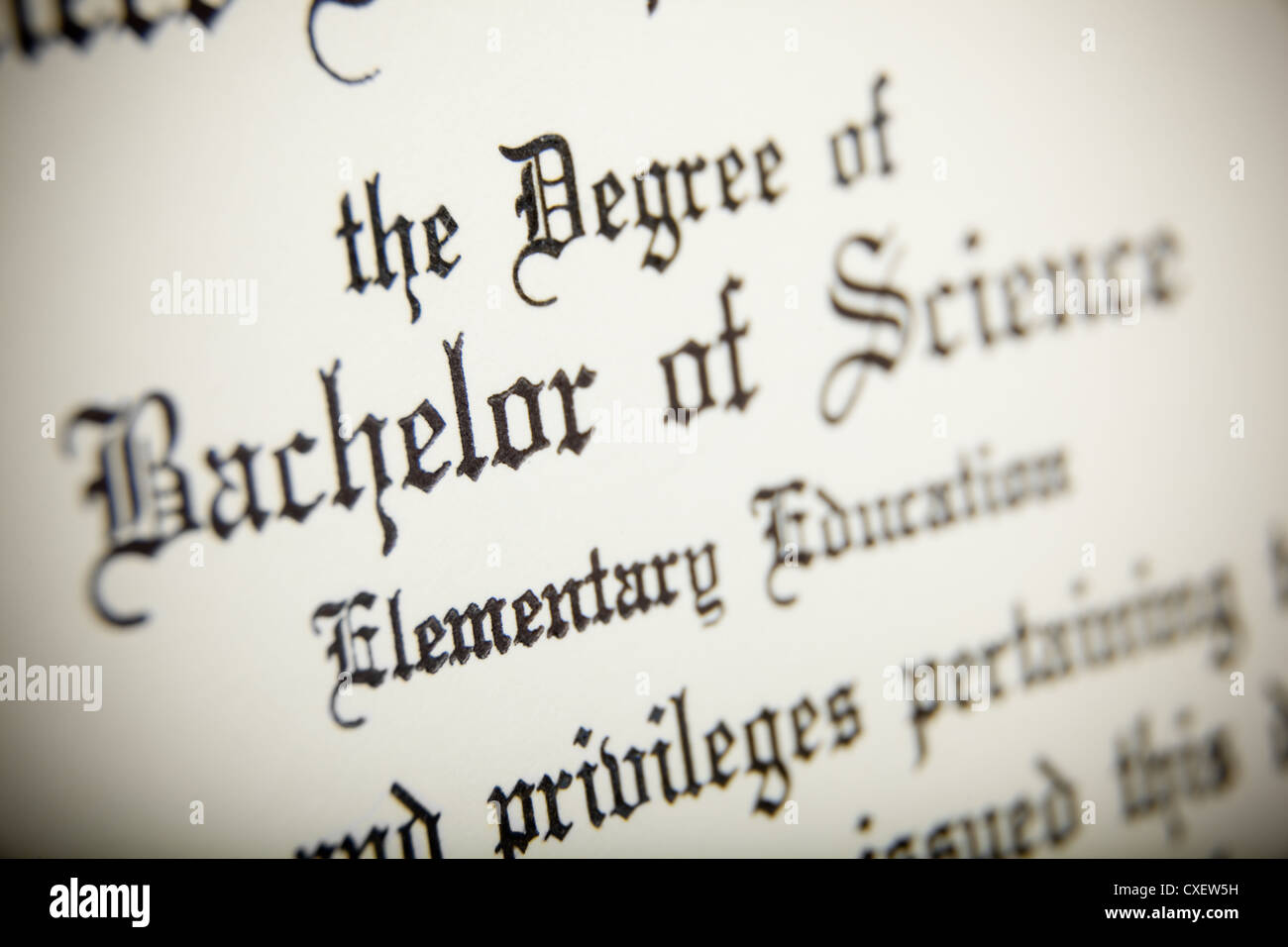 Diploma wording Stock Photo