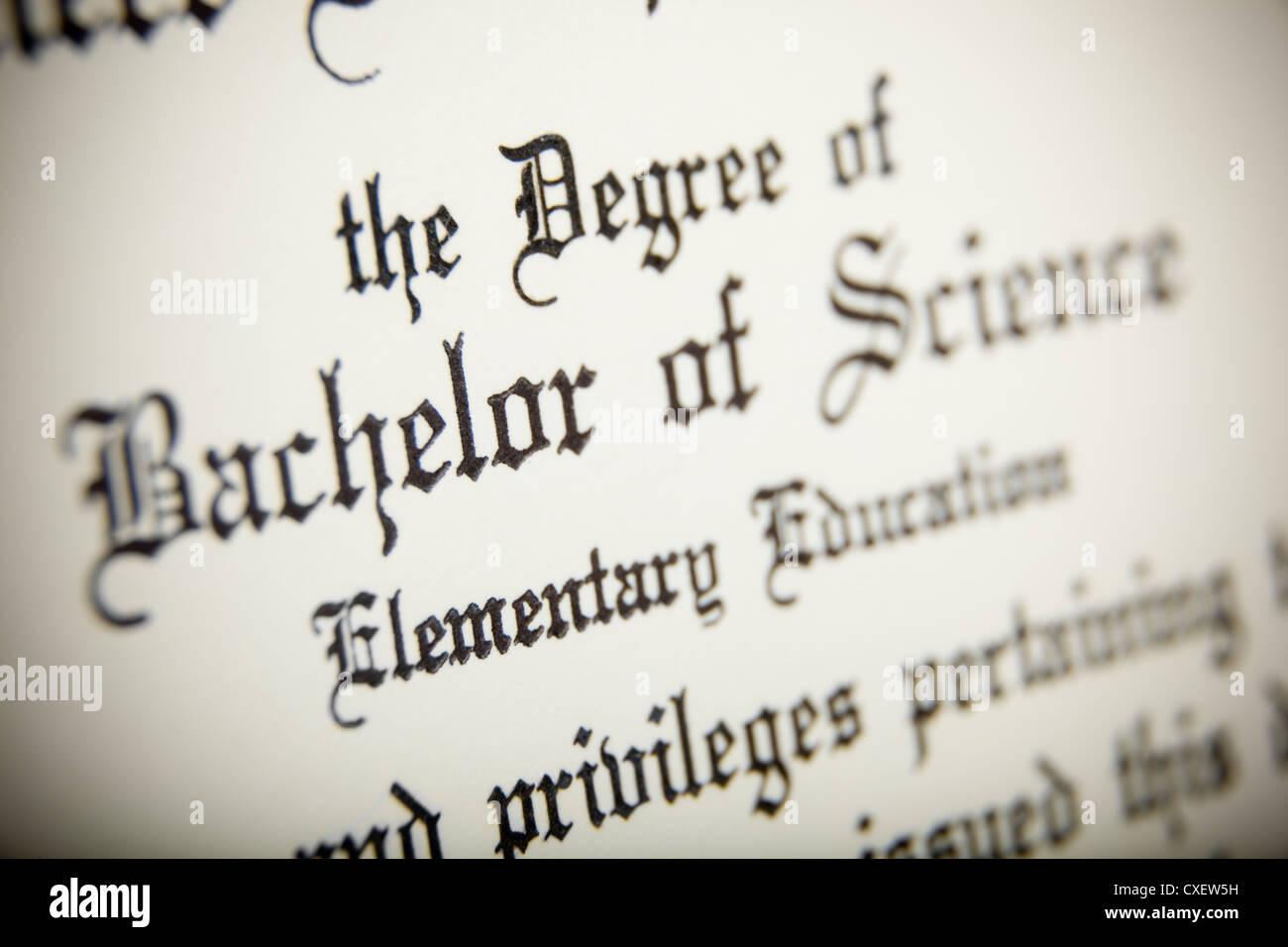 Diploma wording - Stock Image