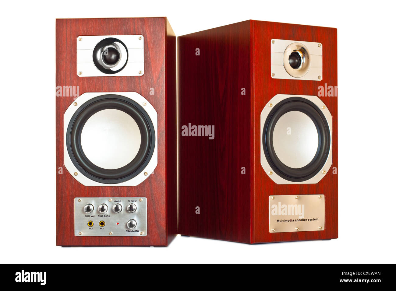 two brown speakers - Stock Image
