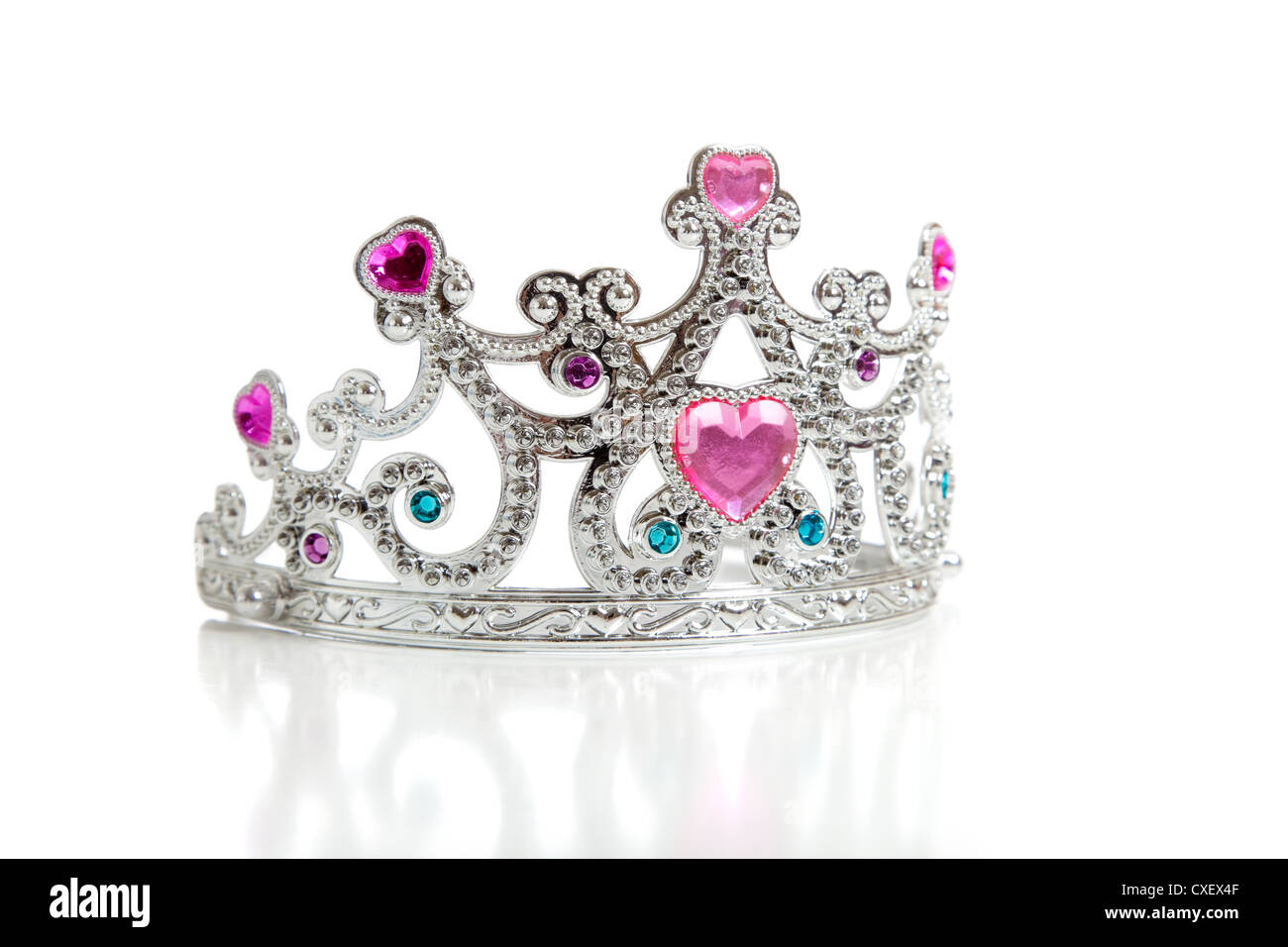 Child's princess tiara on a white background - Stock Image