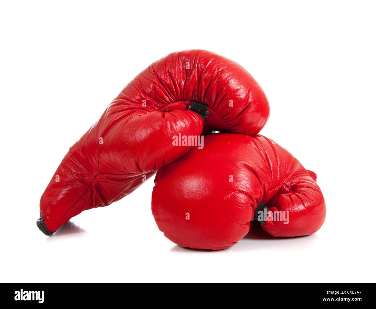 Red boxing gloves on a white background - Stock Image