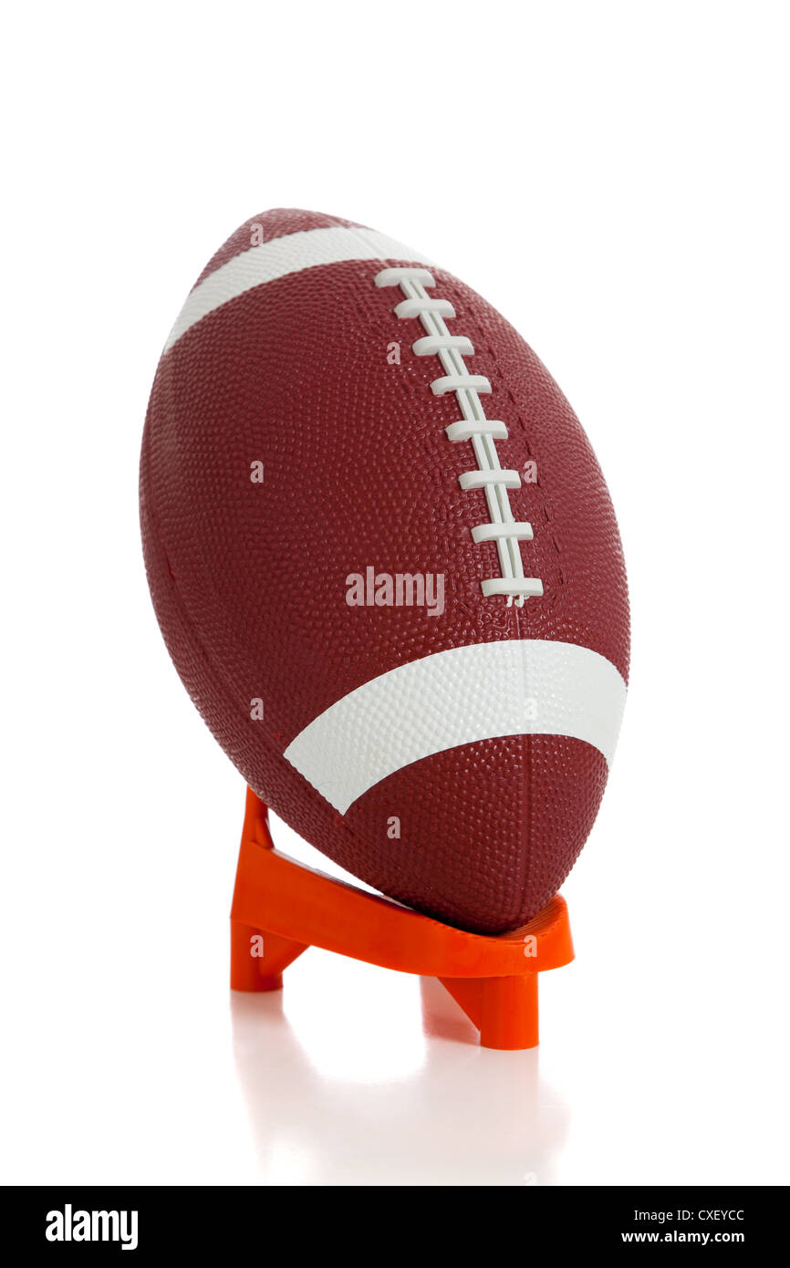 American Football On A Kicking Tee On A White Background Stock Photo Alamy