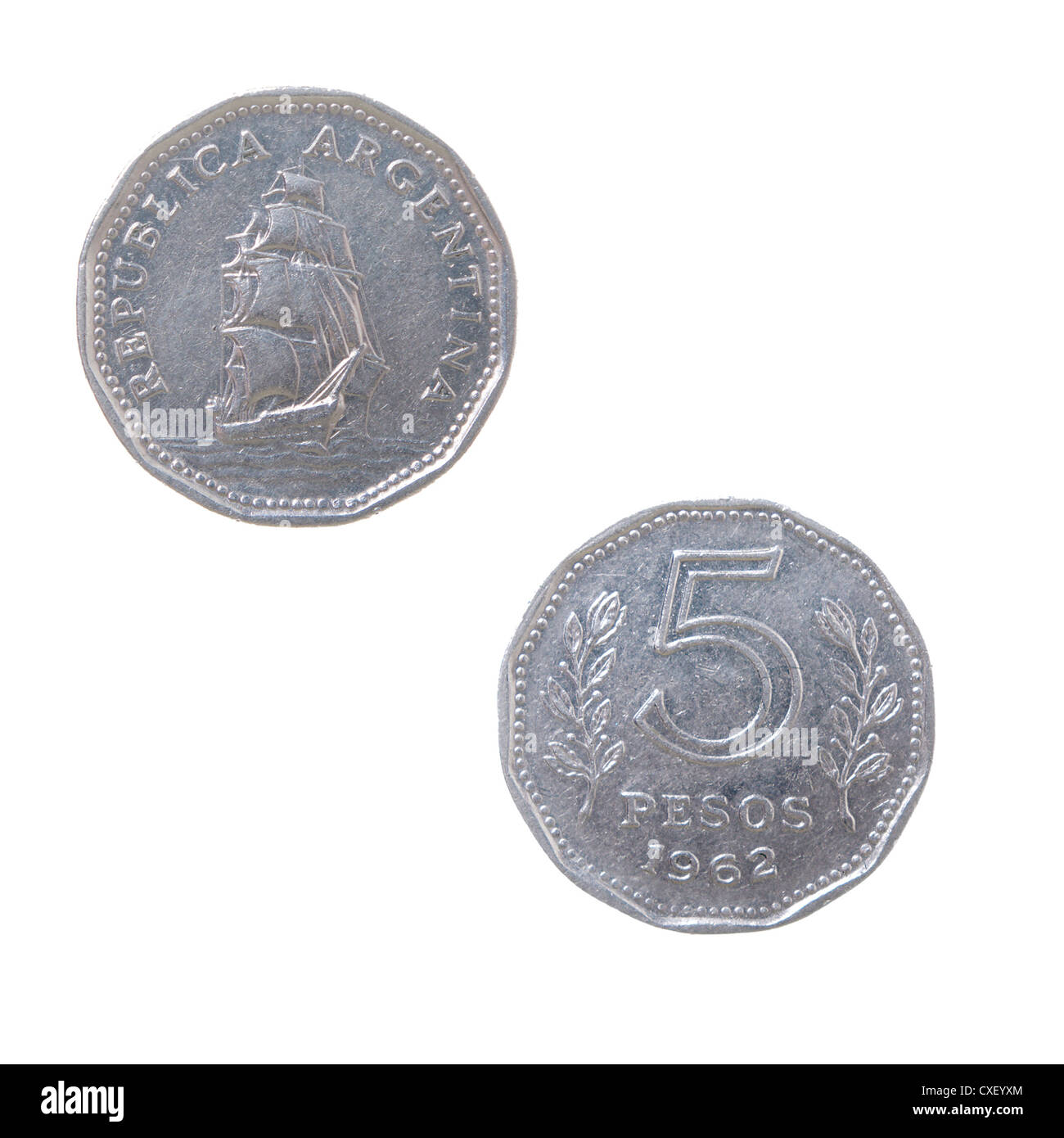 old coins of the Argentina - Stock Image