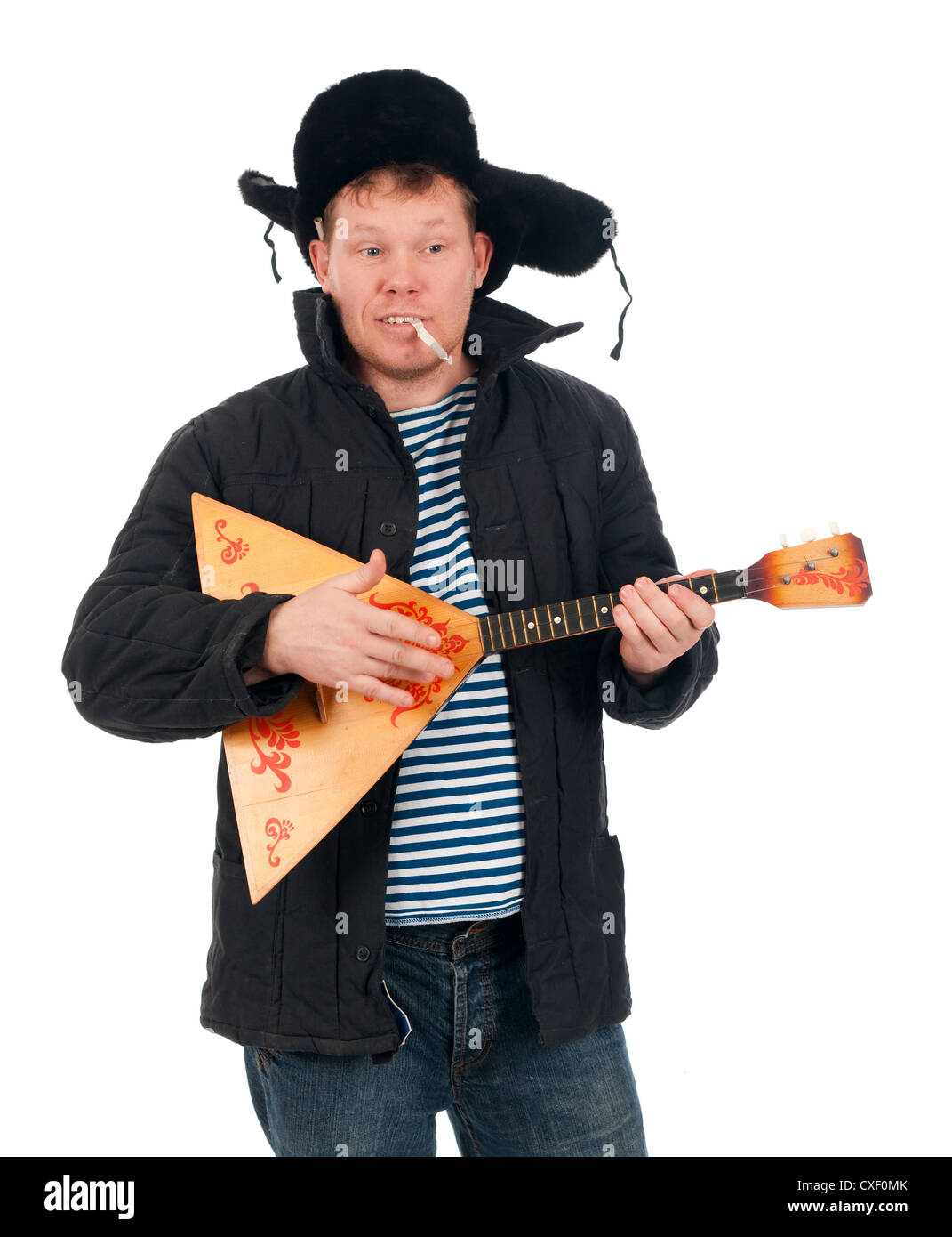 Russian man with balalaika - Stock Image