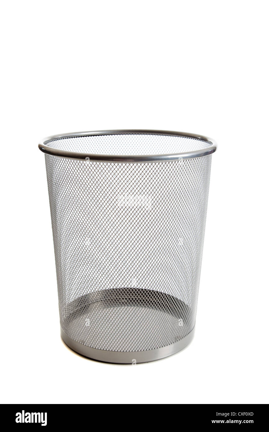 Wire mesh trash can on a white background - Stock Image