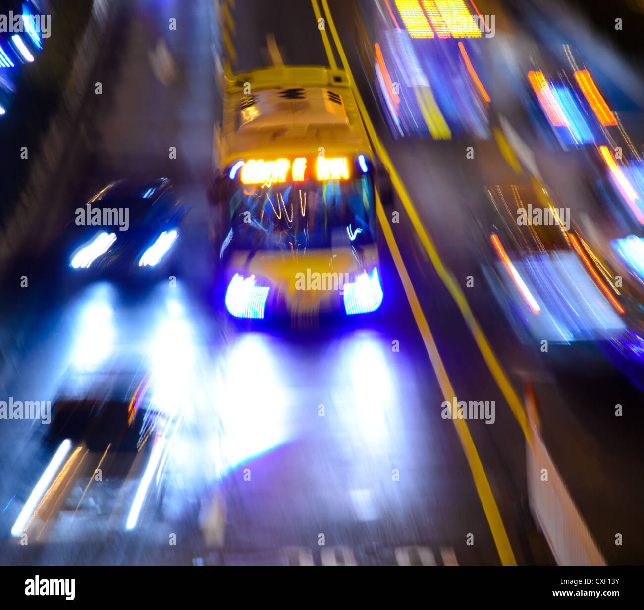 busy big city night traffic - Stock Image