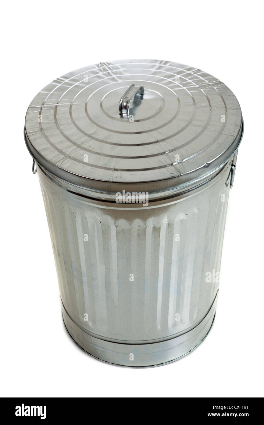 Aluminum trash can on a white background - Stock Image
