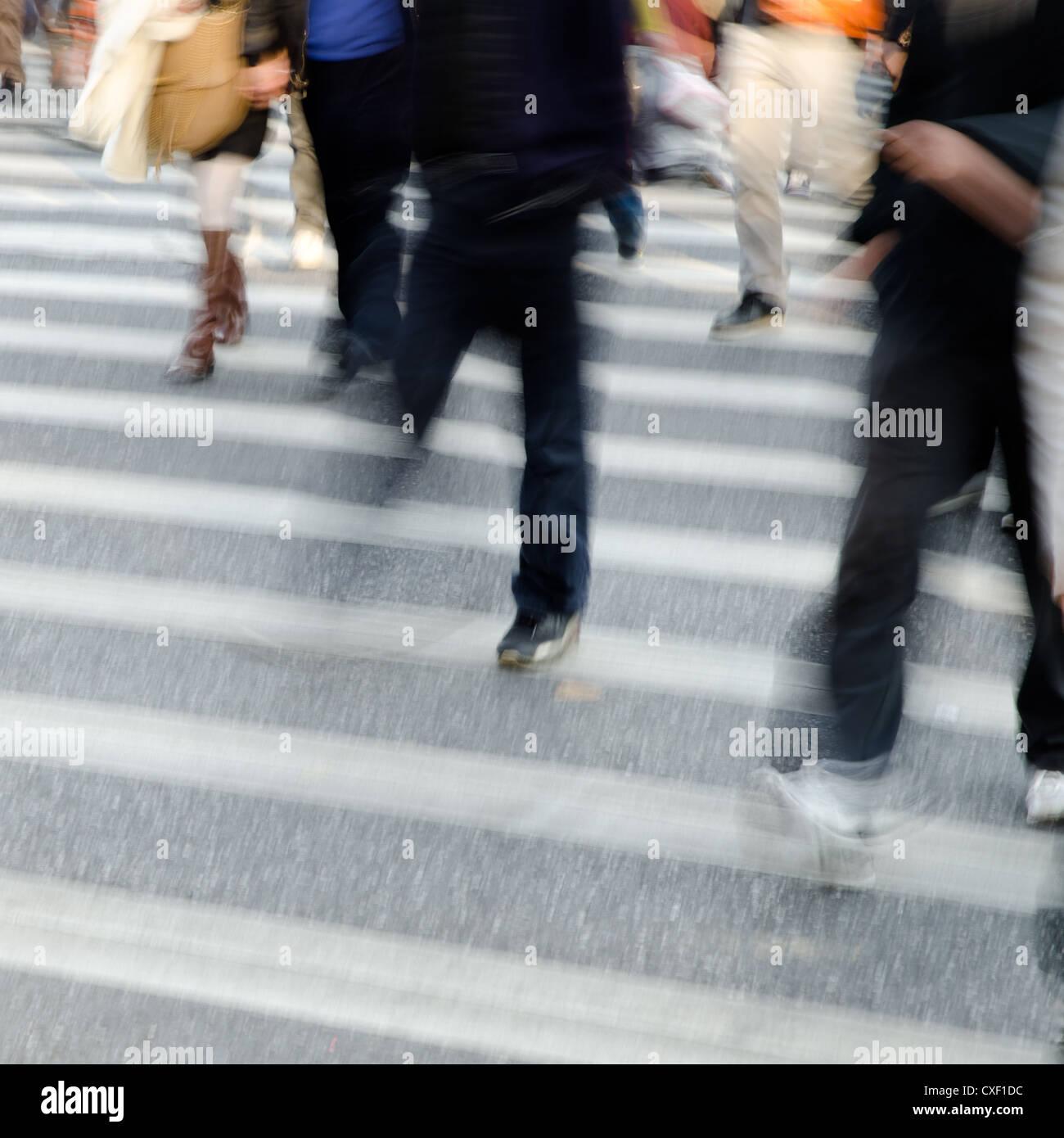 people crowd on zebra crossing street Stock Photo