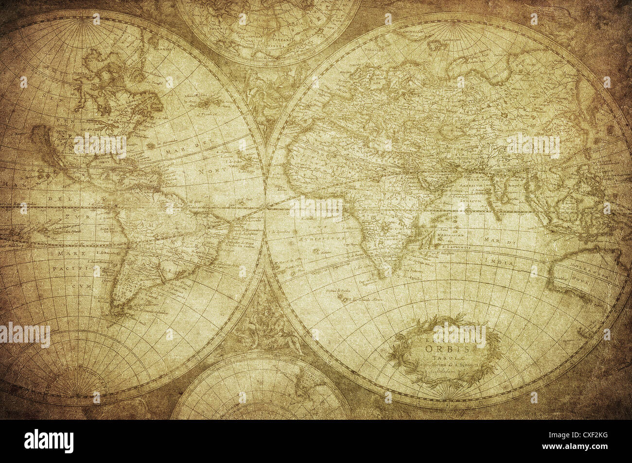 vintage map of the world 1675 - Stock Image