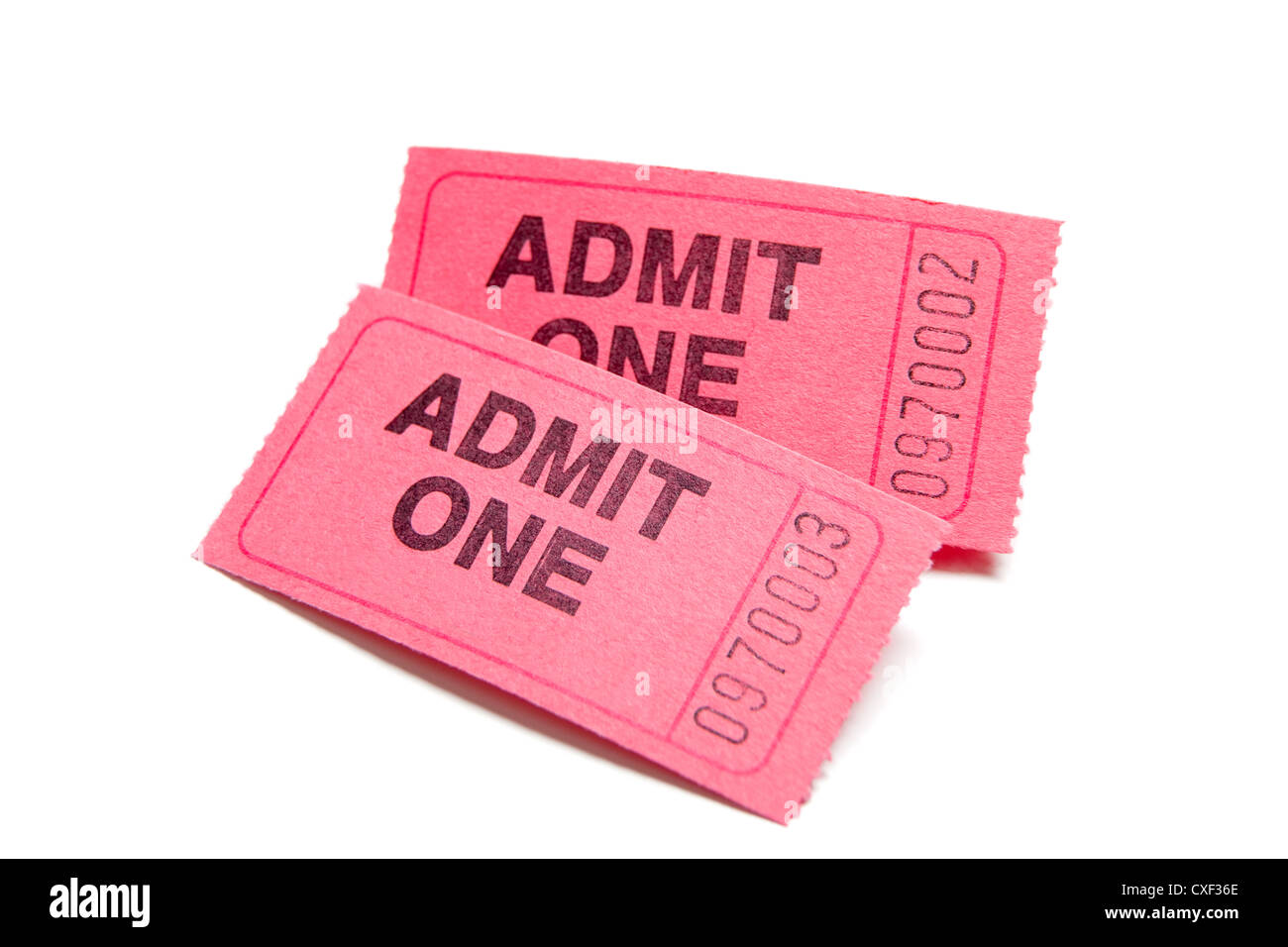 Two admission tickets on a white background - Stock Image