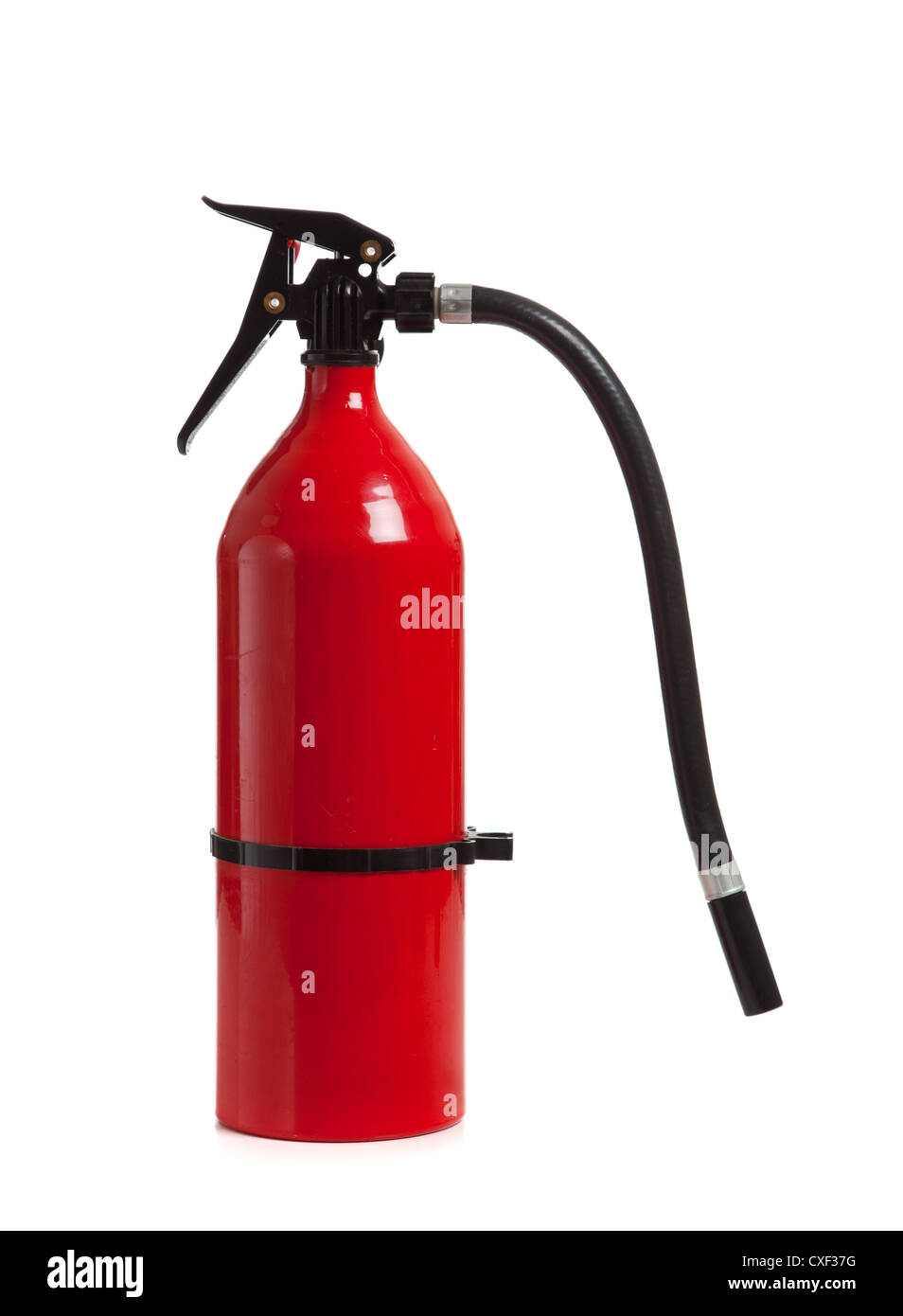 Red fire extinguisher on a white background - Stock Image