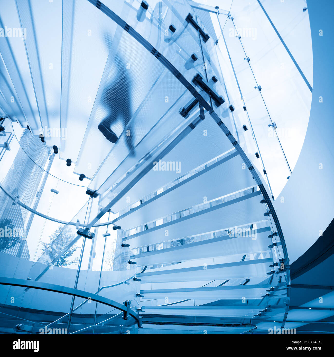 futuristic glass staircase - Stock Image