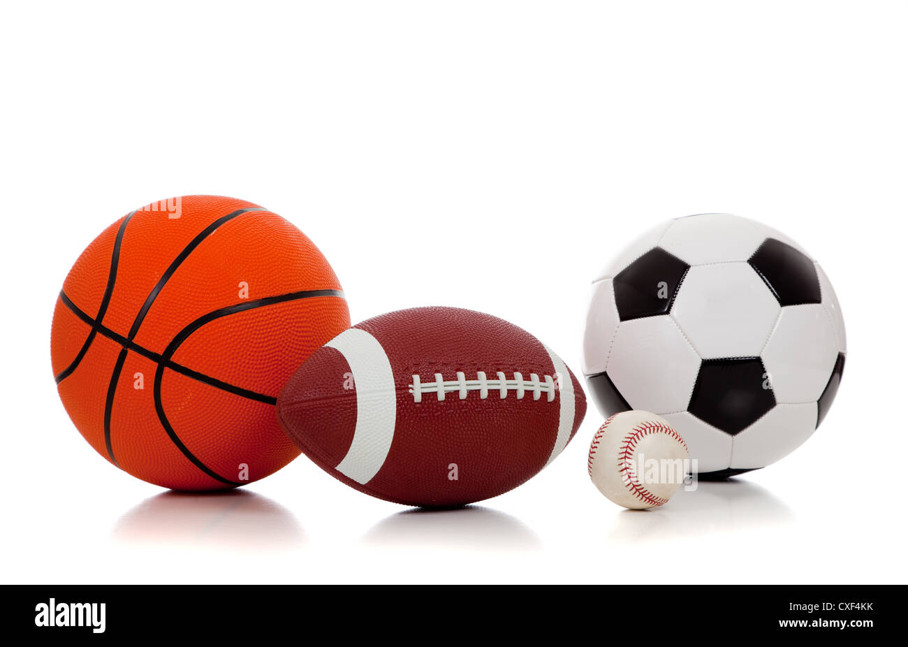 Various Sports Balls On A White Background