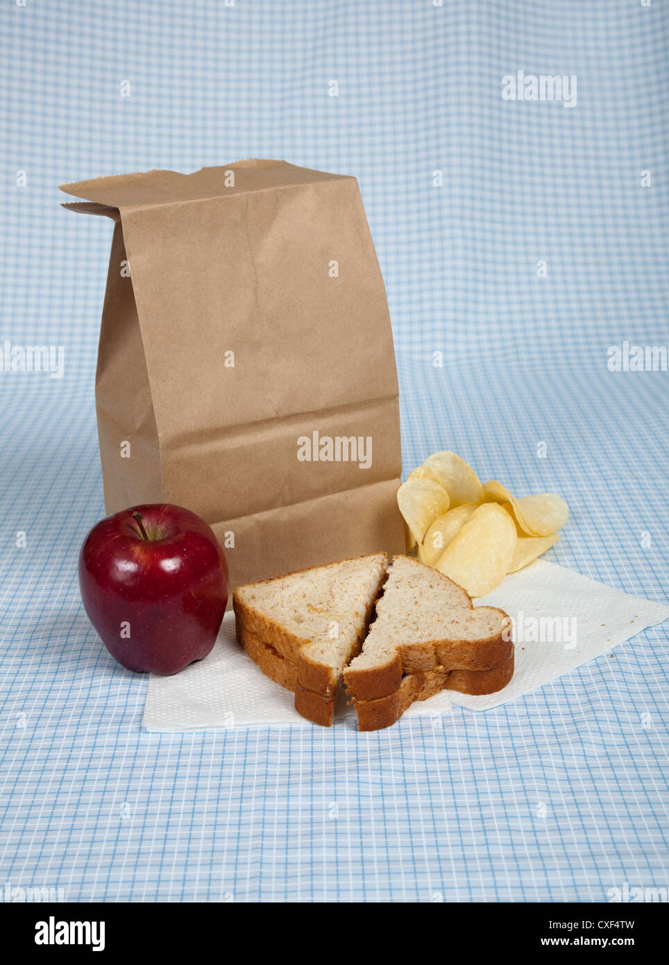 Sack lunch with apple, sandwich and chips on a blue gingham tablecloth - Stock Image