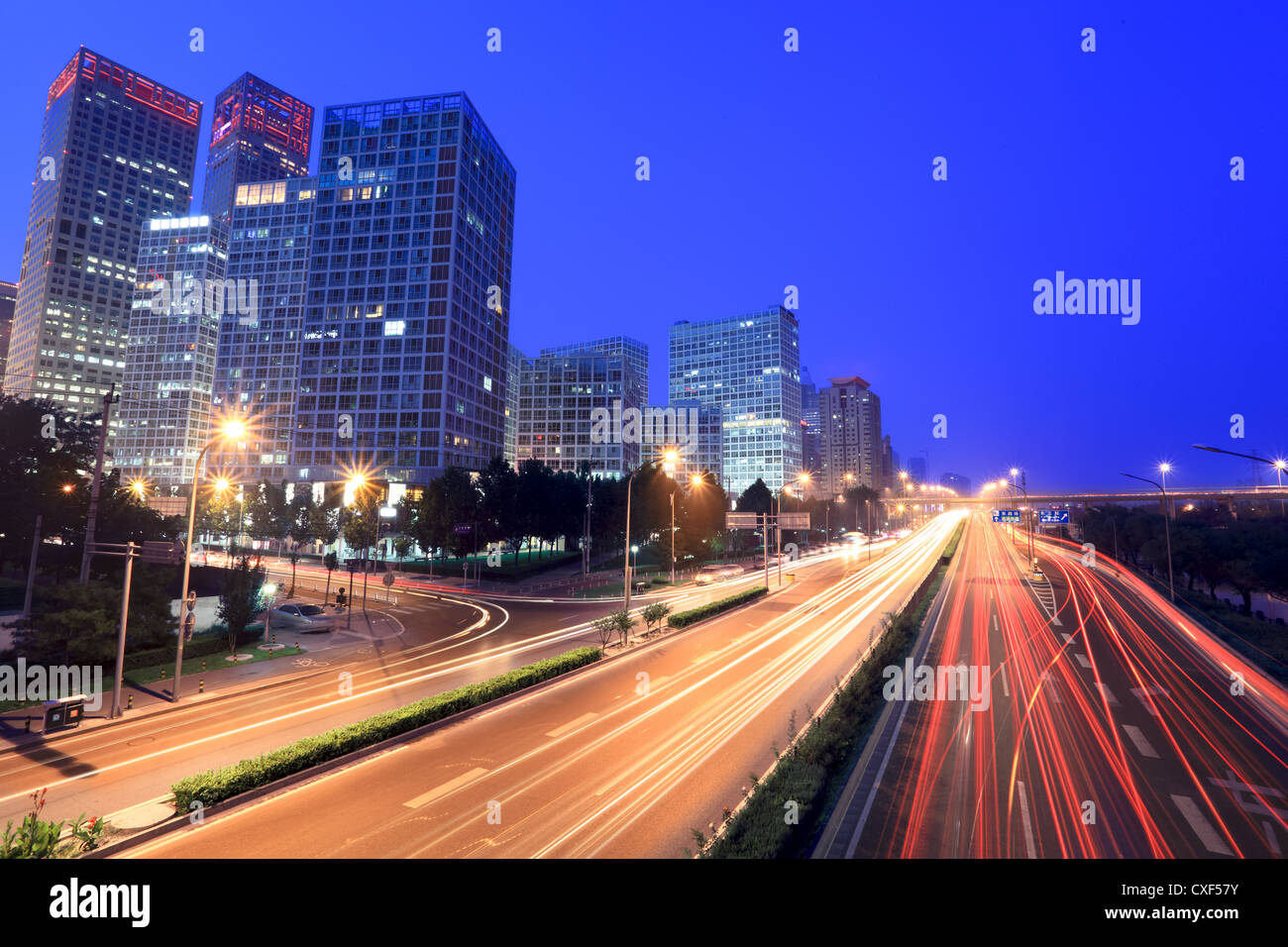 beijing cityscape at dusk with traffic - Stock Image