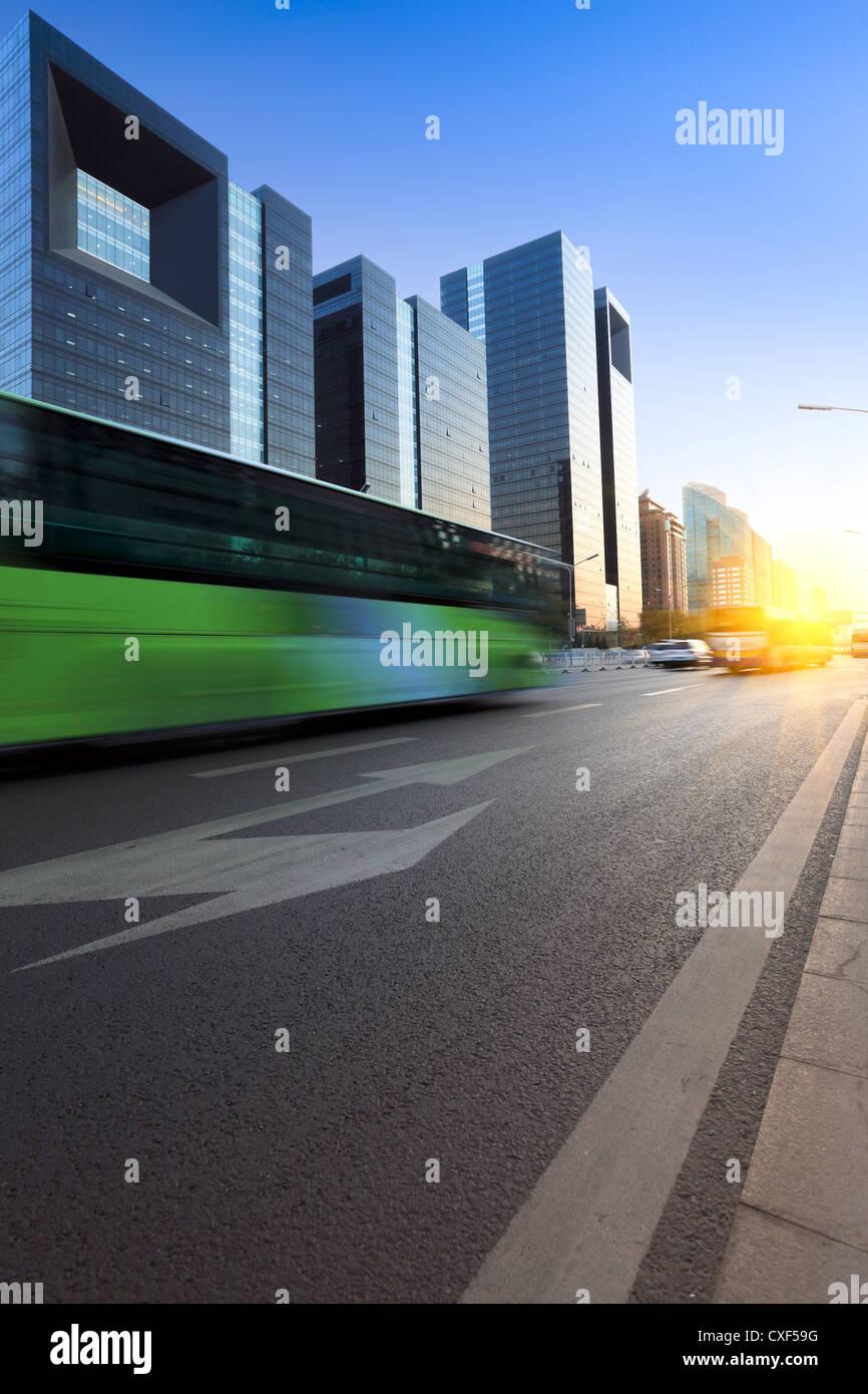 modern city street at dusk - Stock Image