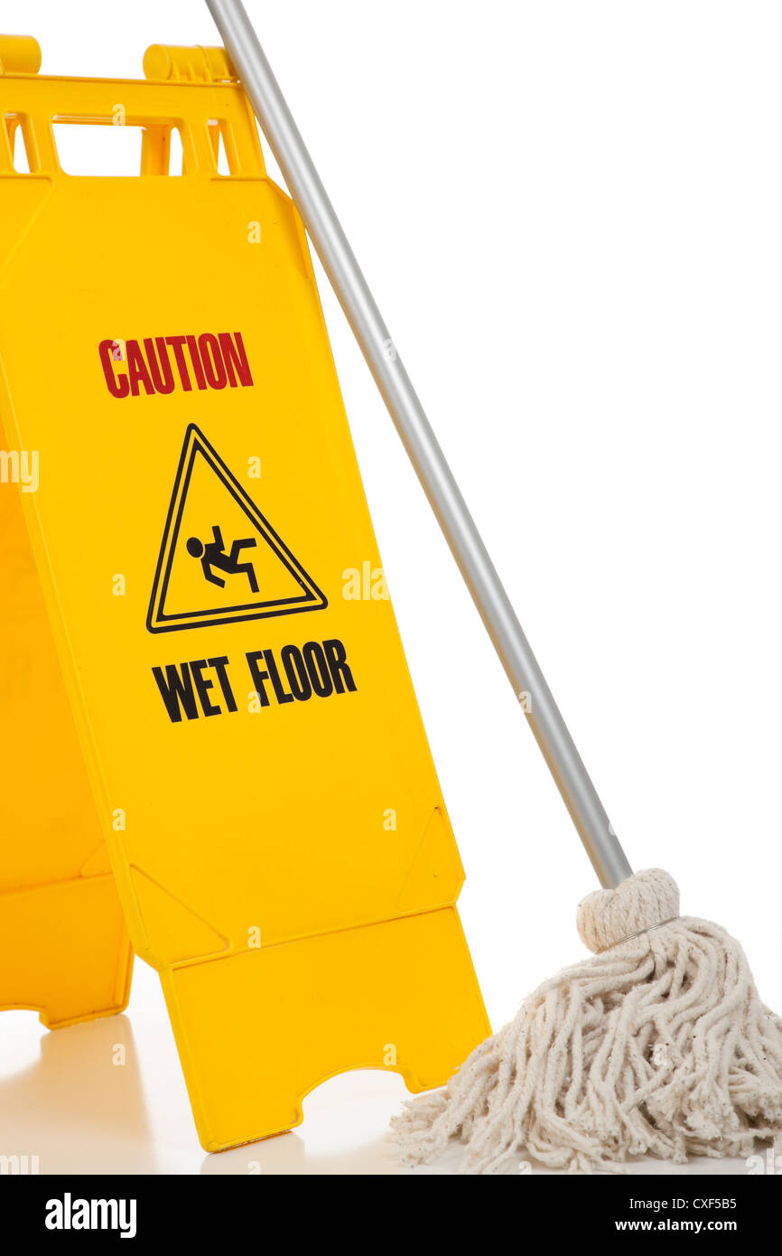 'Wet floor' caution sign with a string mop on a white background - Stock Image