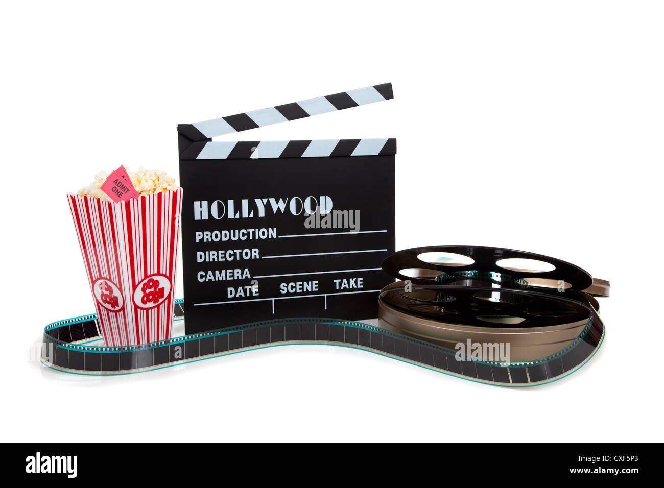 Movie popcorn and tickets with reel of film and Hollywood clapboard - Stock Image