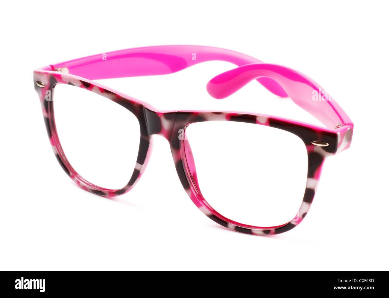 pink eyeglasses - Stock Image