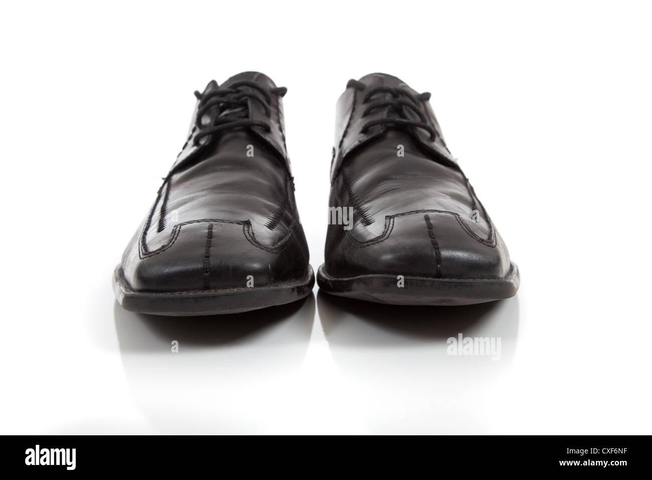 3b074760 Black leather dress shoes on a white bathroom Stock Photo: 50736379 ...
