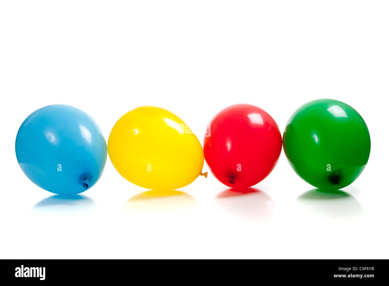 row of multicolored balloons - Stock Image