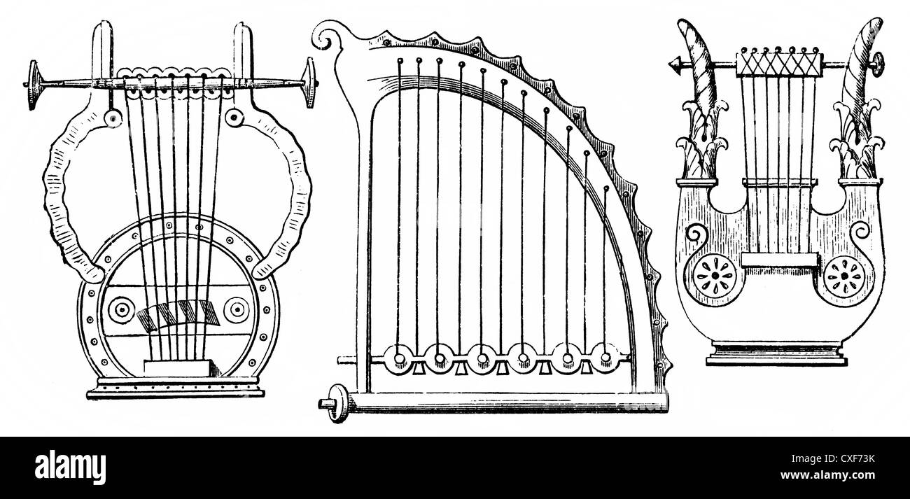 Greek stringed instruments or chordophones of antiquity, great lyre and trigonon - Stock Image