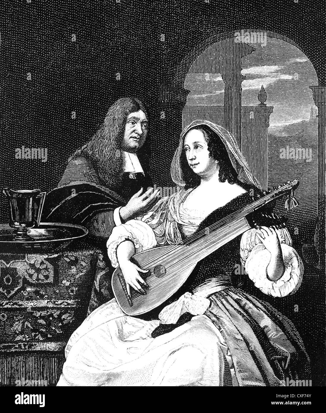 Venetian lute player after painting by Frans van Mieris, 1664, - Stock Image