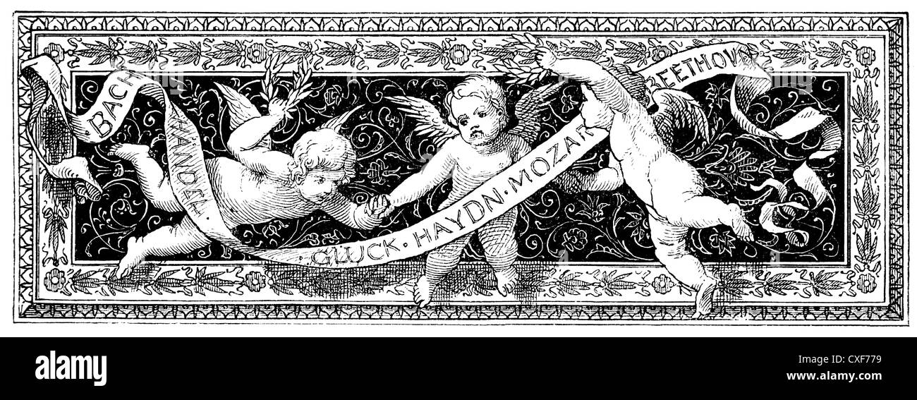 decorative banner with putti and a ribbon with the names of