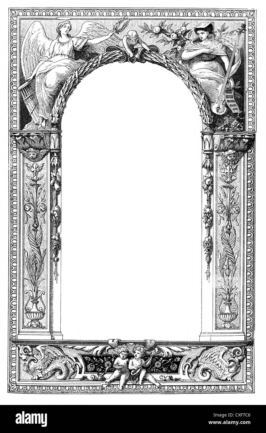 decorative border with allegorical musical motifs, angels making music - Stock Image