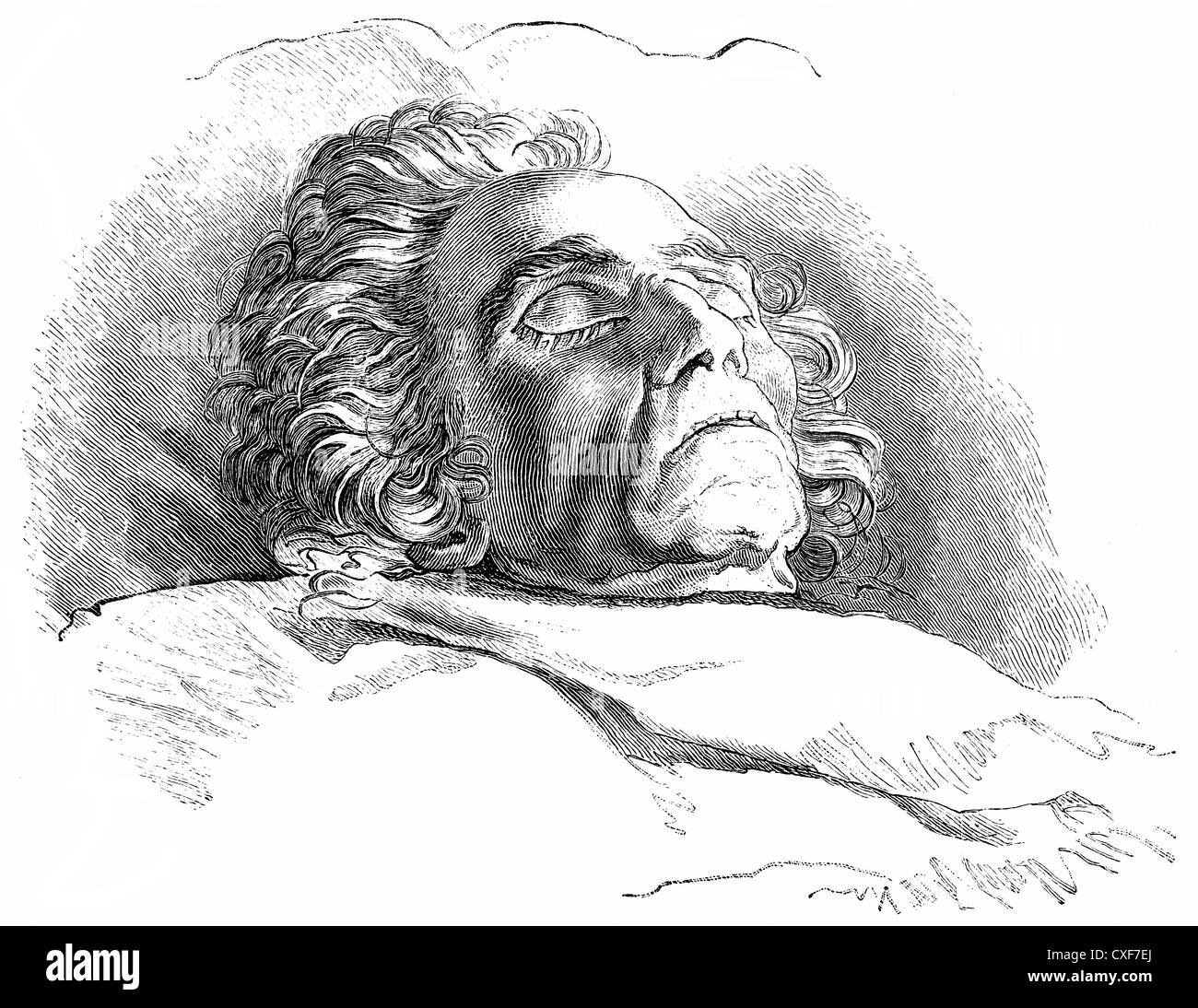The dead Ludwig van Beethoven, 1770 -1827, a German composer of the First Viennese School, - Stock Image