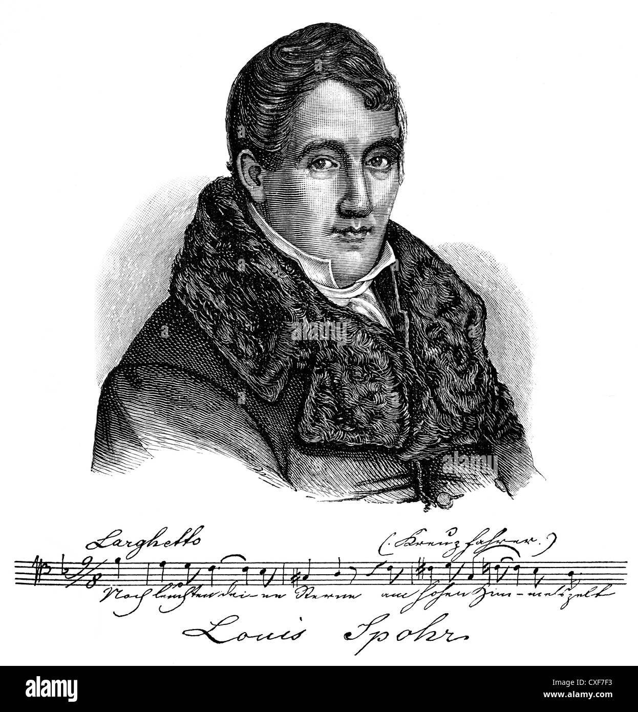 Louis or Ludwig Spohr, 1784 - 1859, a German composer, conductor, violinist and pedagogue, - Stock Image