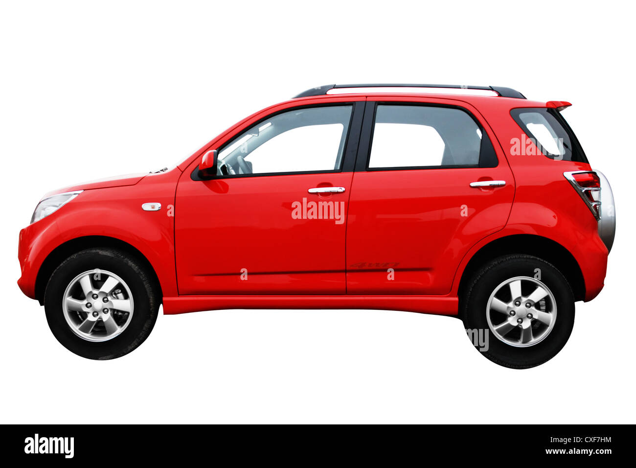 Red modern new car isolated on white background, side view - Stock Image