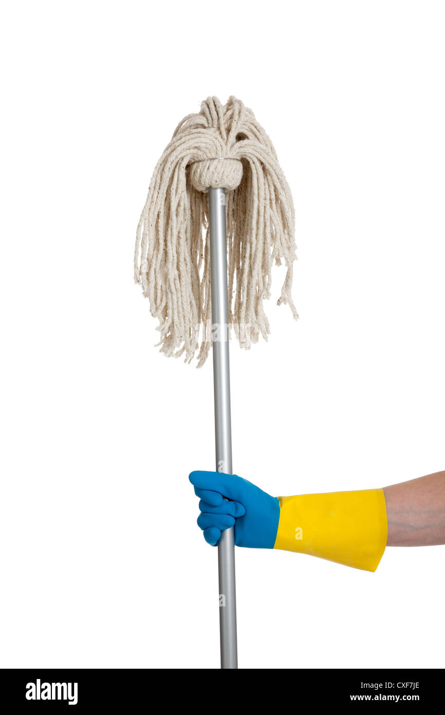 Rubber gloved hand holding a string mop - Stock Image
