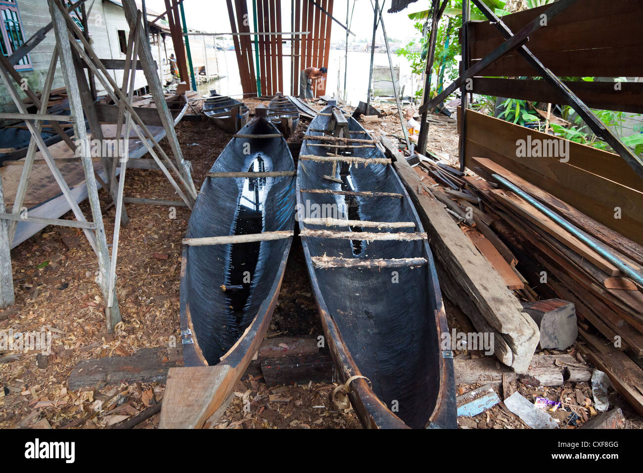 Traditional River Boat in a Boatyard in Banjarmasin in Indonesia - Stock Image