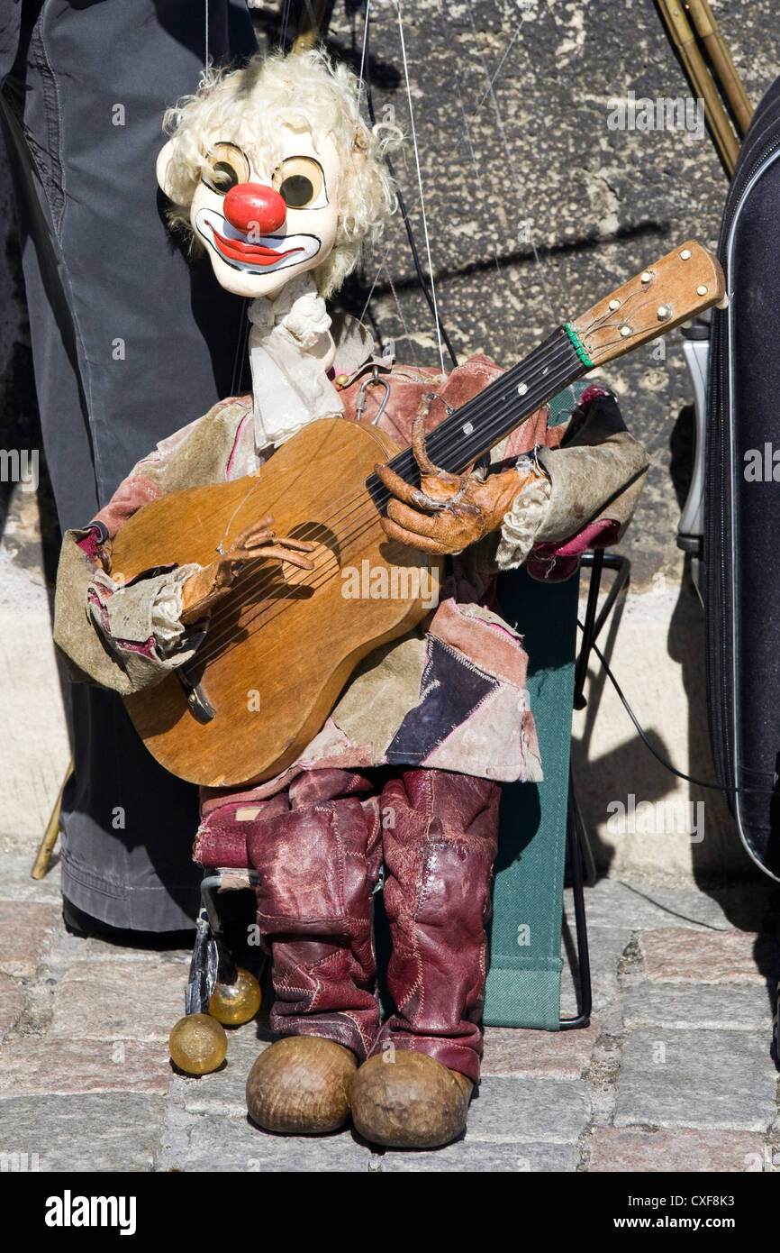 Puppet Clown on the streets of Prague - Stock Image