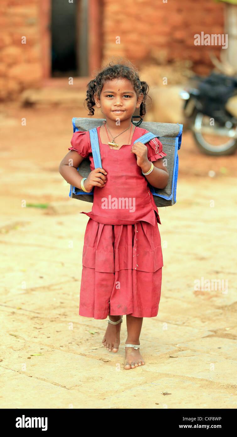 Poor Indian Girl Walking Stock Photos & Poor Indian Girl