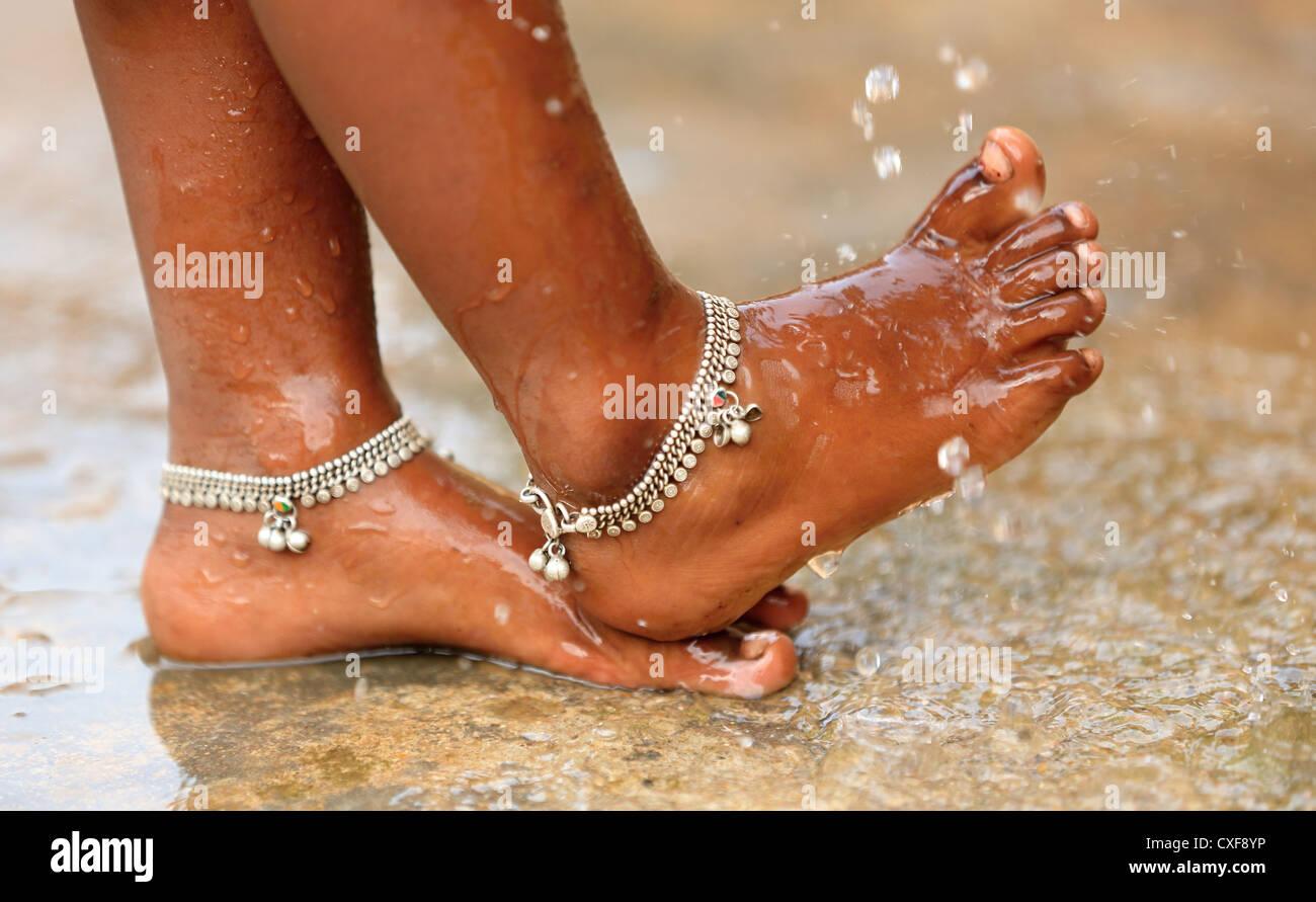 Little Indian Girl Karuna Washing Her Feet Andhra Pradesh South India Stock Image