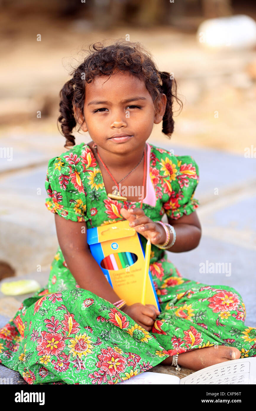 Little Indian School Girl Playing With Pencils Andhra