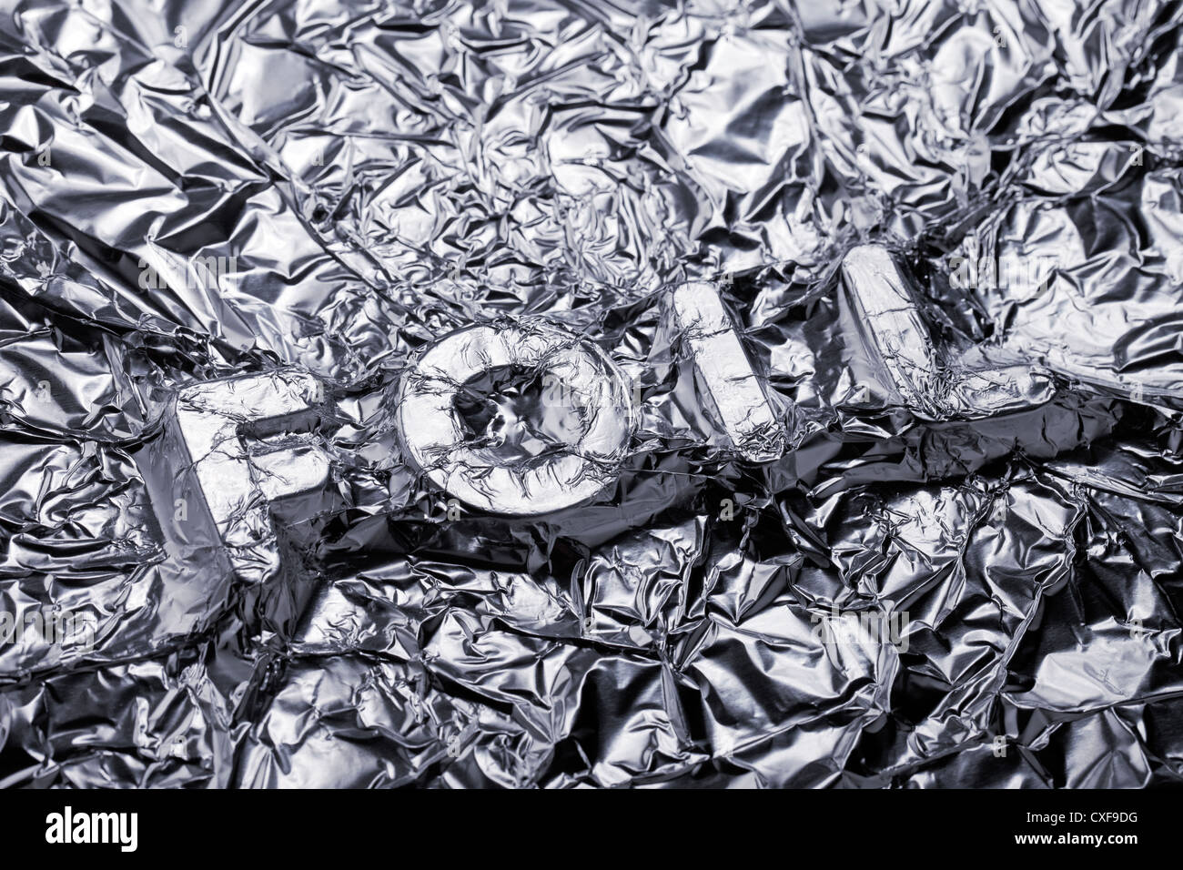 Word Foil covered with aluminium foil. - Stock Image