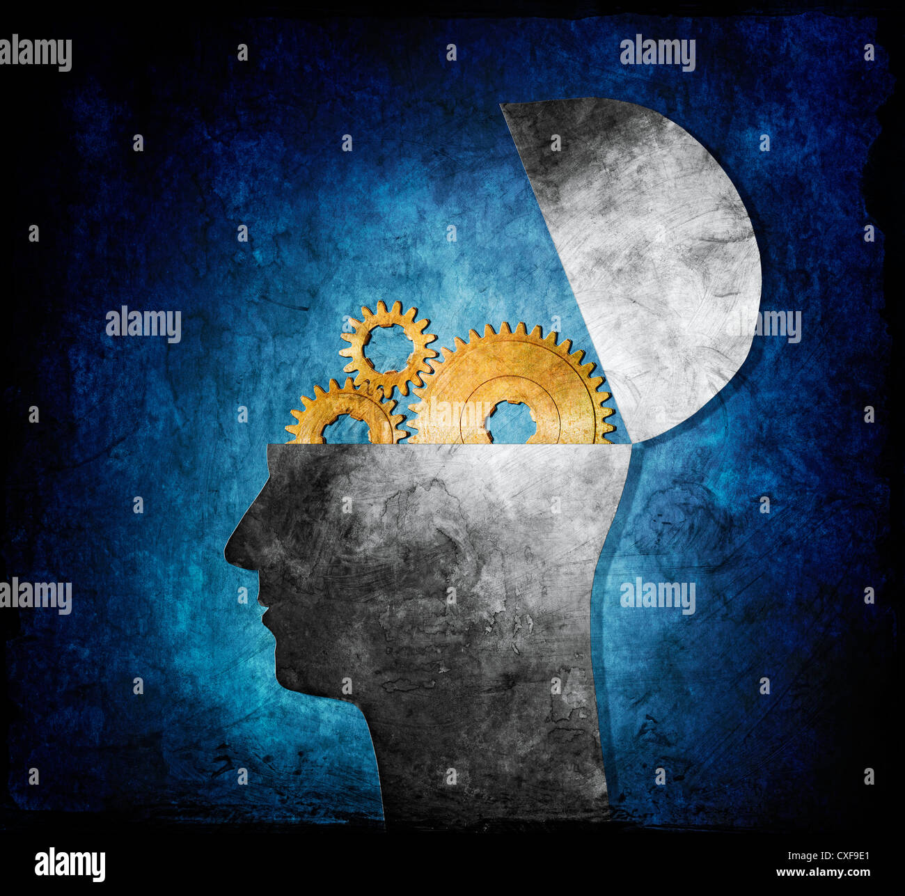 Raster collage illustration of an opened head with cog gears. - Stock Image