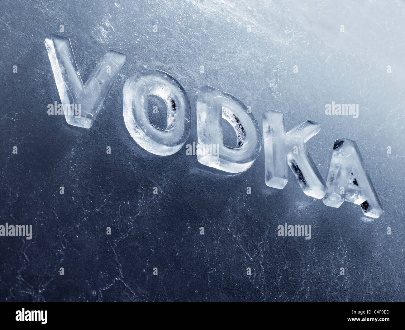 Word Vodka written with real ice letters. - Stock Image