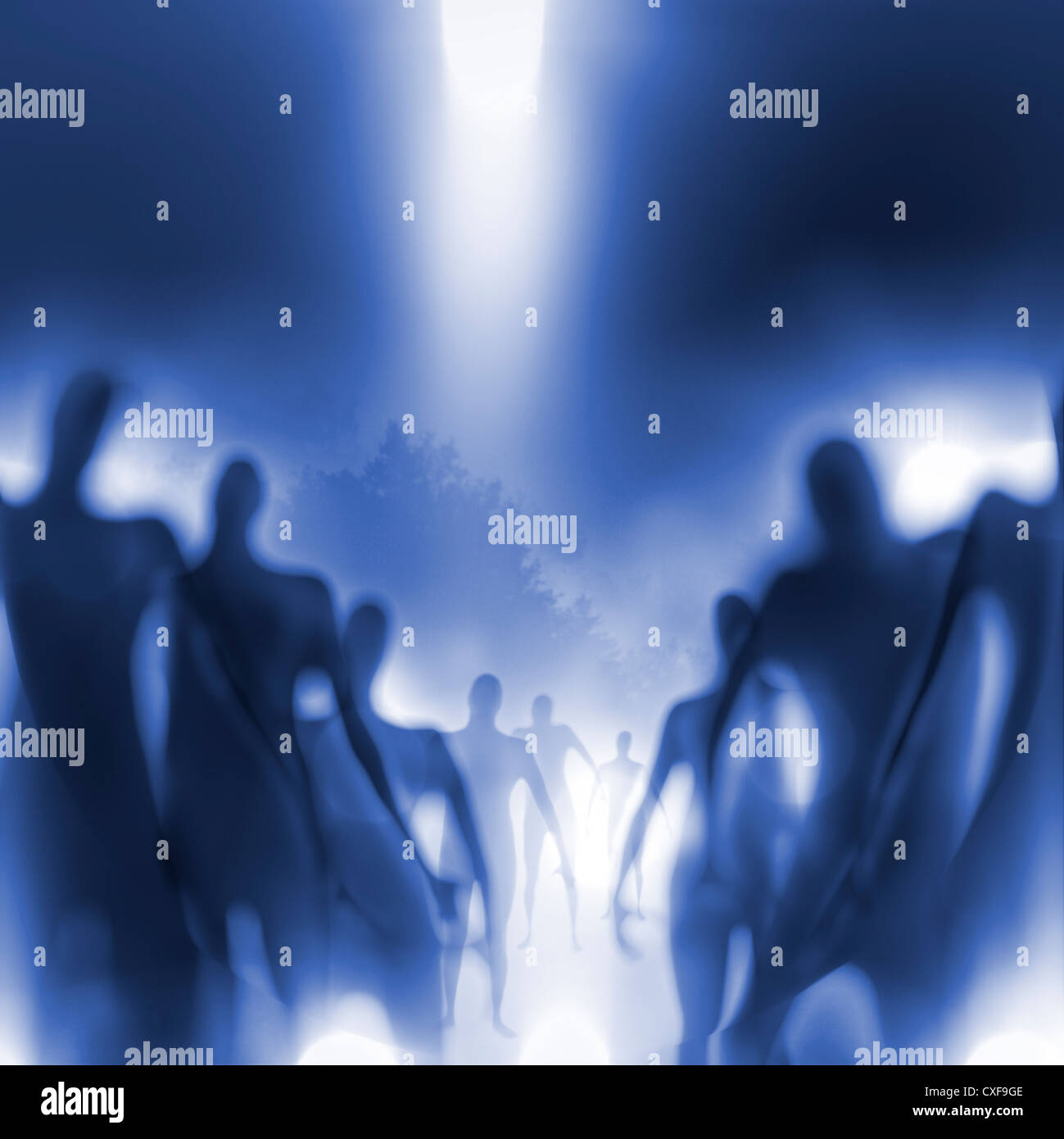 Grainy and blurry image of human-like beings approaching. - Stock Image