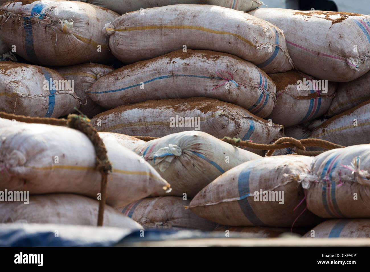 Bags in the Port Sunda Kepala in Jakarta - Stock Image