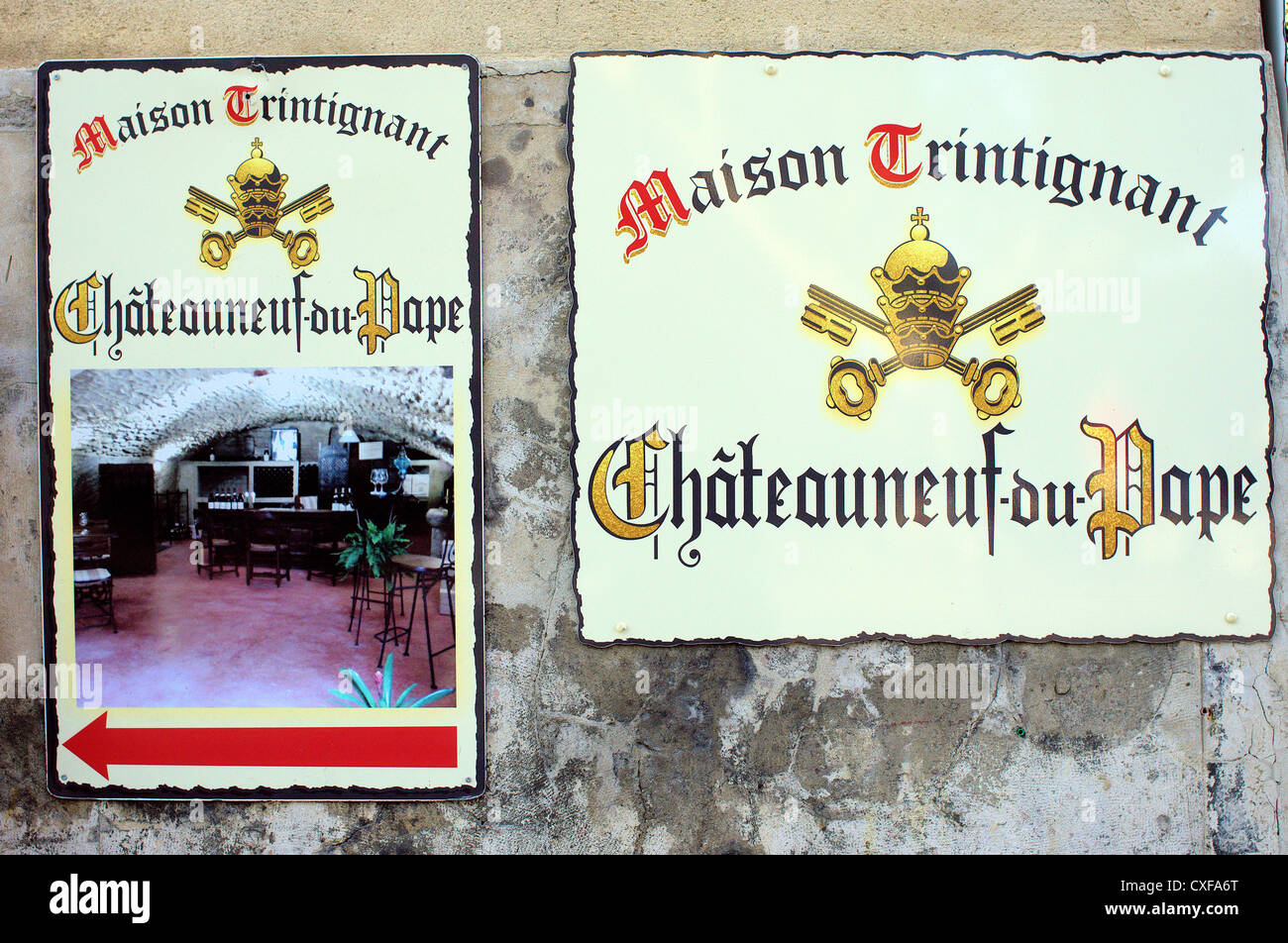 Adverts of winemakers Chateauneuf du Pape Provence France - Stock Image