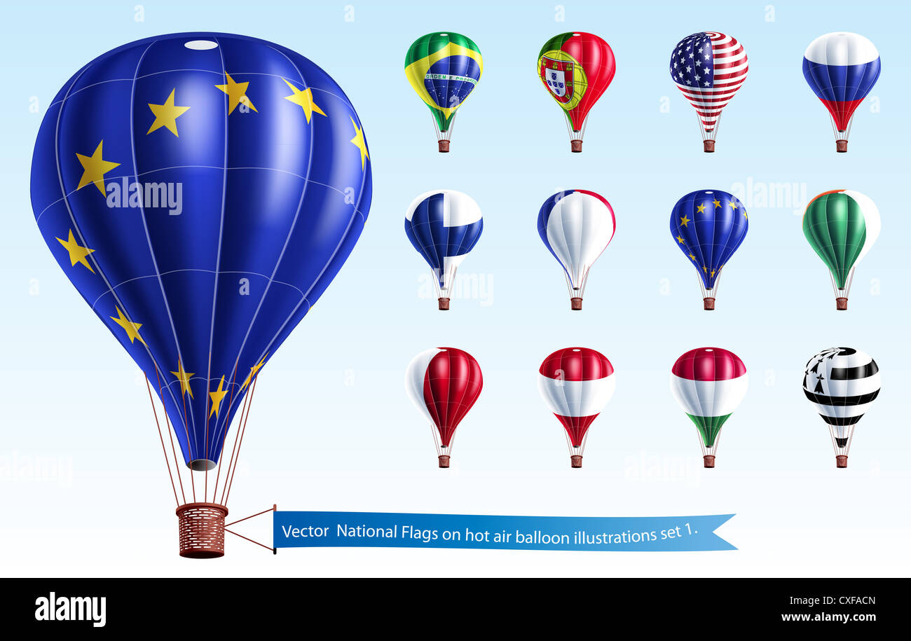 National Flags on hot air balloon illustrations set 1 Stock Photo