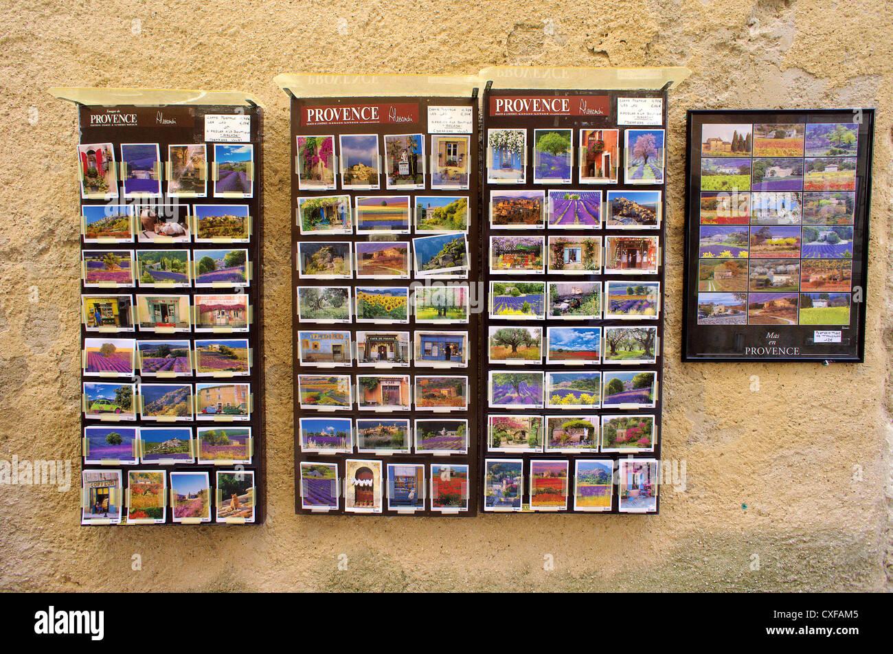 Provencal postcards Rousillon village Provence Vaucluse France - Stock Image
