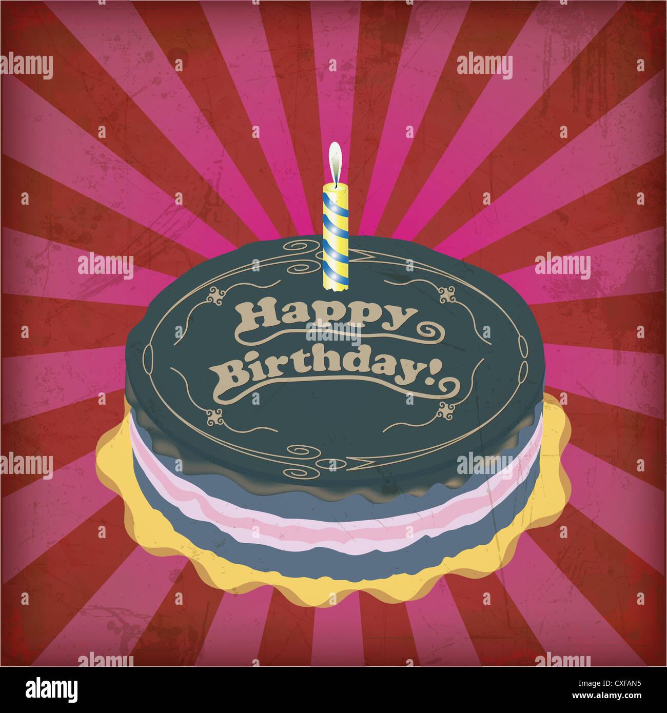 Swell Vintage Birthday Cake With Grunge Effect Stock Photo 50739505 Alamy Funny Birthday Cards Online Fluifree Goldxyz